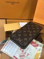 Wholesale 2018 selling classic men letter Long zipper wallet luxury hand bag Single pull purse plaid Clutch wallet original packaging