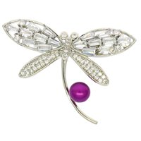 Wholesale copper tin wholesale online - Fashion matching freshwater pearl brooch jewelry zircon diamond dragonfly brooch empty tower