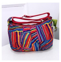 Wholesale Wholetide Nice Women Nylon Zipper Bags pop Colorful Floral Lady Shopping Day Clutches Small Handbag Newest Fresh Carved Cross Carry Bags