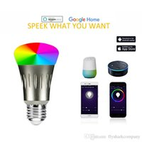 Wholesale Smart LED Light Bulb Smartphone App Controlled Dimmable Multicolored W E27 WiFi Light Bulb Works with Alexa voice control