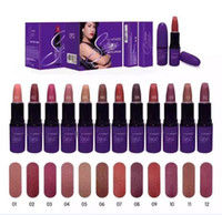 Wholesale purple lipstick for sale - 12 colors Brand Matte Lipstick Cosmetics Lip Matte Makeup Lip Gloss Waterproof Long Lasting Purple Tube Lipsticks