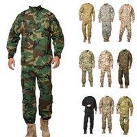 Wholesale army camo uniforms online - ACU woodland camo Uniform army combat uniform hunting suit Wargame uniform COAT PANTS