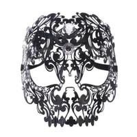 Wholesale metal skull mask masquerade for sale - Black Gold Silver Metal Laser Cut Full Skull Venetian Masquerade Mask Men Women Halloween Shows Ball Rhinestones Prom Party Mask