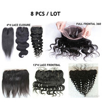Wholesale lace frontal online - Lace Closure Frontal Full Lace Brazilian Hair Natural B Silky Straight Hair Weaves Top Closures Body Wave Deep Wave