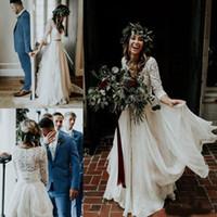 Wholesale ruffle sleeves top dresses for sale - 2019 Beach vestido de novia Cheap Wedding Dresses A Line Chiffon Ruffle Lace Top Summer Wedding Gown Custom Made Bohemian Bridal Gowns