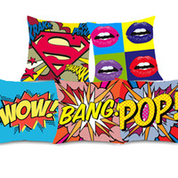 Wholesale lips wow online - 7 Styles American POP Style Cushion Covers Graffiti Rock And Roll Letters WOW POW BANG Red Lips Superman Cushion Cover Soft Pillow Case