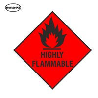 Wholesale HotMeiNi Car Styling HIGHLY FLAMMABLE Warning Car Sticker Safety for Locker Laptop Fridge Bumper Waterproof Accessories x13cm