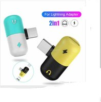 Wholesale 2 in Pill Audio Charge Adapter For Jack Splitter AUX Headphone Adapter For iPhone X Plus Support Charge Music Converter