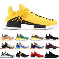 Wholesale 2019 NMD Human Race Mens Running Shoes Pharrell Williams Sample Yellow Solar Pack Sport Designer Shoes Women Sneakers