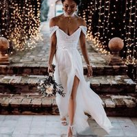 Wholesale sexy wedding dress real online - Hot Sell Off Shoulder White A Line Lace Applique Side Split Custom Made Beautiful Fashion Sexy Wedding Dress