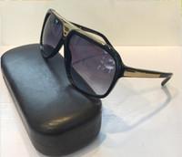 Wholesale Free ship fashion Luxury brand evidence sunglasses retro vintage men brand designer shiny gold frame laser logo women top quality with box