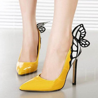 Wholesale t strap wedding heels online - Pointed Toe High Heels Shoes Designer Sexy Butterfly Shallow Mouth Sole High heeled Women Wedding Dress Shoes