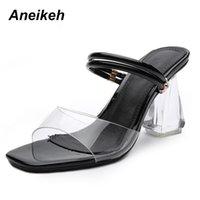 Wholesale transparent fashion shoes for sale - Dress Aneikeh Pu Fashion Pumps Women Spring High Square Heels Women s Shoes Solid Transparent Black Wear For Party Buckle