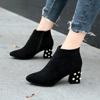 Wholesale faux leather ladies online - Womens Ankle Boot Martin Winter Beading Cow Suede Platform Ladies Chunky High Heels Casual Shoes Booties