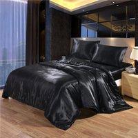 Wholesale black white purple bedding online - White Black Bedding Sets King Double Size Satin Silk Summer Used Single Bed Linen China Luxury Bedding Kit Duvet Cover Set