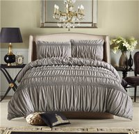 Wholesale grey modern bedding online - Brief White Grey Princess Ruched Duvet Cover Set Pinch Pleat Queen Size Bedclothes Bedding Sets No filling No sheet