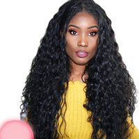 Wholesale brazilians wig cap online - Fashion cheap product new arrival unprocessed remy virgin human hair long natural color deep wave full lace cap wig for women