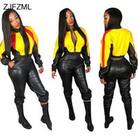 Wholesale standing collar coat pant online - PU Leather Sexy Two Piece Set Women Color Block Tracksuit Long Sleeve Front Zipper Crop Coat Top And Elastic Waist Bodycon Pant