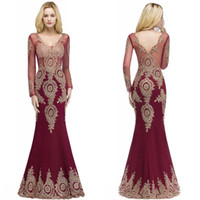 Wholesale red formal bridesmaids dresses online - 2019 Burgundy Mermaid Prom Evening Dresses V Neck Sheer Long Sleeves Appliqued Lace Evening Gowns Formal Pageant Dress