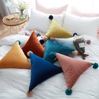 Wholesale Creative Home cm Triangle Sofa Pillow With Balls Solid Color Pillow Seat Cushion Bed Sofa Car Decorative Polyester Soft Pillow DH0938 T03