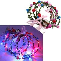 Wholesale Fashion LED Flashing Rose Flower Festival Headband Veil Wedding Light Up Floral Garland Hairband Daughter Best Gift
