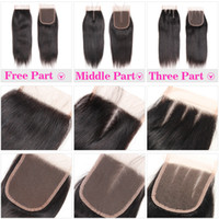 Wholesale human hair lace closure brown for sale - 100 Human Hair X4 Lace Closure with Baby Hair Brazilian Straight Hair Body Wave Top Lace Closure Free Middle Three Part Peruvian Malaysian