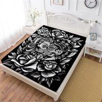 Wholesale skull bedding king for sale - Boho D Sugar Skull Bed Sheet Black Rose Print Fitted Sheet Valentine s Day Couples Bedding Tribal Bedclothes Home Decor