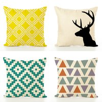 Wholesale Creative Simple Office Flax Pillow Case High Grade Geometric Modernism Cushion Cover Home Sofa Decor js Ww