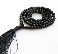 Wholesale buddhist jade online - AAAA mm Black stone Tibetan Buddhist Beads Mala Necklace
