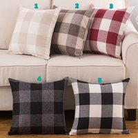 Wholesale Amazon Explosion Checkered Pillowcase Linen Classic Large Lattice Pillow Covers Colors Promotional Gift Sofa Cushion Covers Throw Pillows