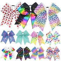 Wholesale Colorful Bowknot Hair Rope Bow Heart Pattern Hair Band Pony Tails Holder Headdress Head Bands Fashion Drop Ship