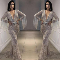 Wholesale sequined dresses for sale - Sparkly Silver Prom Dresses Bling Bling Sequined Mermaid Evening Gowns Deep V Neck Long Sleeves With Tassel Arabic Formal Party Dress