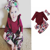 Wholesale cute baby girl clothes summer wear online - Princess infant girl clothes set long sleeve romper print pants headband of floral clothes autumn wear baby clothing M