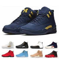 e8b8a6fe1536 Wholesale 12 Xii Basketball Shoes Men Bulls Michigan College Navy White  Black Flu Game Gamma Blue Taxi Playoffs The Master Sports Sneaker
