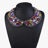Wholesale women's rhinestone choker online - New Winter Luxury Full Rhinestone Crystal Statement Necklace Fake Collar for Women s Clothing Accessories Collier Bijoutreie