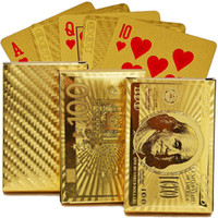 Wholesale Wooden box K Gold Foil Plated Poker Texas poker Playing Cards Traditional Set With red Box Free collectibles