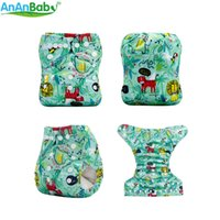 Wholesale cloth diaper print insert online - New Arrival Ananbaby Cloth Diapers Baby With Double Row Snaps Prints Pocket Cloth Nappy With pc Microfiber Insert