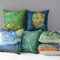 Wholesale Vincent van Gogh Oil Paintings Art Cushion Covers The Starry Night Apricot Flower Cushion Cover Decorative Linen Cotton Pillow Case
