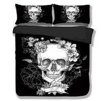 Wholesale king size skull bedding for sale - 3D Skull Bedding set Black and White Duvet Covers for King Queen Size Bed Europe Style Sugar Skull Bed Set Sheet Duvet Cover