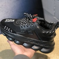 Wholesale casual men bags for sale - NEW triple black CHAIN REACTION Shoes Link Embossed Sole Luxury Brand Fashion Casual Designer Men Women Shoes Sport Sneakers With Dust Bag