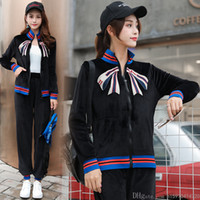 Wholesale standing collar coat pant online - Spring Autumn New Women Clothes Two Piece Sets Bow Embroidery Stand Collar Coat Beam Casual Pants Velvet Women Tracksuit Size S XL