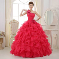 Wholesale blue flowers photos online - quinceanera dresses Girls prom Pageant dresses Colorful Organza A line Beading Ruched One Shoulder Quinceanera Dresses Beautiful Party