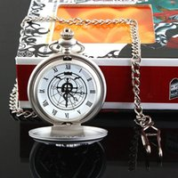 Wholesale New Silver Tone Fullmetal Alchemist Pocket Watch Cosplay Edward Elric with Chain Anime Boys Gift Toy