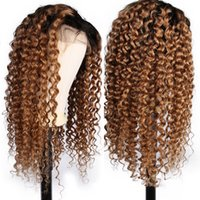 Wholesale 1B Ombre Deep Part Lace Front Human Hair Wigs With Baby Hair Curly Remy Pre Plucked Brazilian Full Lace Wig Bleached Knots