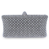 Wholesale evening bags for sale - Wholetide dc1888 Full Crystal Pearl Mesh Deluxe Women Evening Clutches With Cm Metal Chain Bridal Party Bag Black Silver Gold Colors
