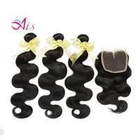 Wholesale sells human hair online - Remy Brazilian Virgin Hair bundles with Lace Closure Natural Color Human Hair Bundles Virgin Hair Hot Sell