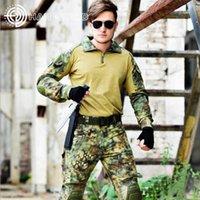 Wholesale combat uniform tactical for sale - Outdoor Sport Camouflage Jacket Pants Tactical Frog Suits Army Combat Men s Uniform Hunting Clothes Knee Elbow Pads