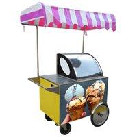 Wholesale free shipment ice cream vending tricycle ice cream freezer gelato hand push cart snack food cart street food vending tricycle with canopy