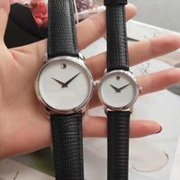 Wholesale classic leather band watches for sale - classic luxury mens women lover wristwatches quartz movement real cow leather band high quality brand couple watches gift orologio