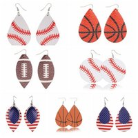 Wholesale 18 Styles Sports PU Leather Flamingo Earrings Vintage Baseball America National Flag Football Earring pair CCA11246 pair